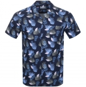 Les Deux Short Sleeved Polynesia Shirt Navy